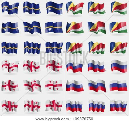 Nauru, Seychelles, Georgia, Russia. Set Of 36 Flags Of The Countries Of The World. Vector