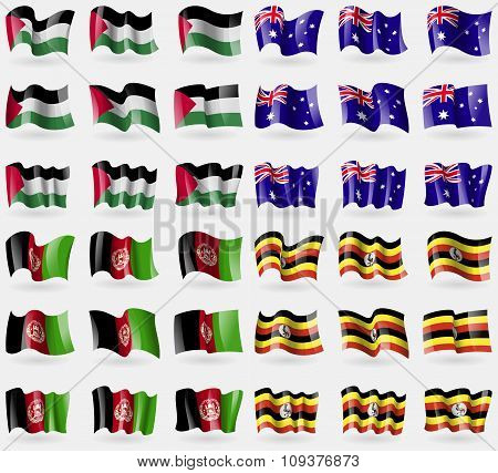 Palestine, Australia, Afghanistan, Uganda. Set Of 36 Flags Of The Countries Of The World. Vector