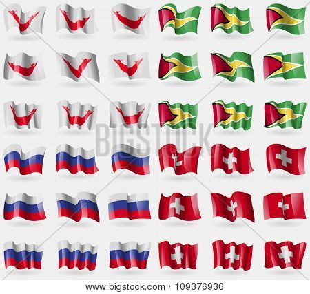 Easter Rapa Nui, Guyana, Russia, Switzerland. Set Of 36 Flags Of The Countries Of The World. Vector