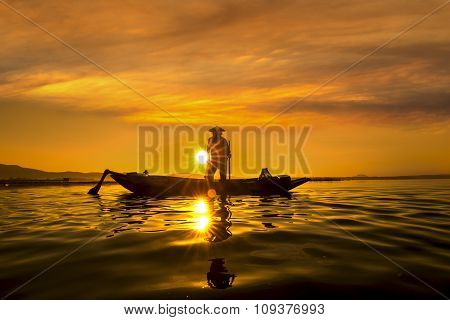 Fishermen In Inle Lakes Sunset,