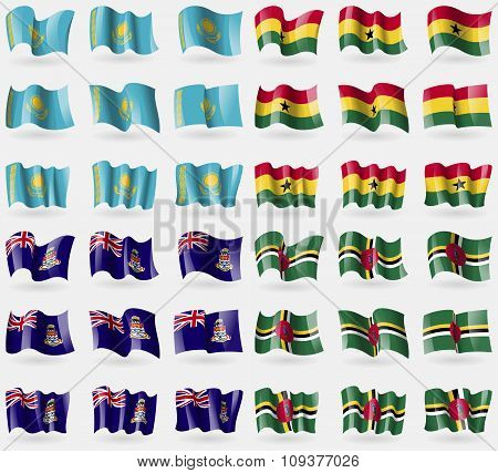 Kazakhstan, Ghana, Cayman Islands, Dominica. Set Of 36 Flags Of The Countries Of The World.