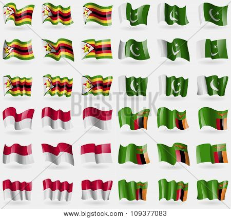 Zimbabwe, Pakistan, Indonesia, Zambia. Set Of 36 Flags Of The Countries Of The World.