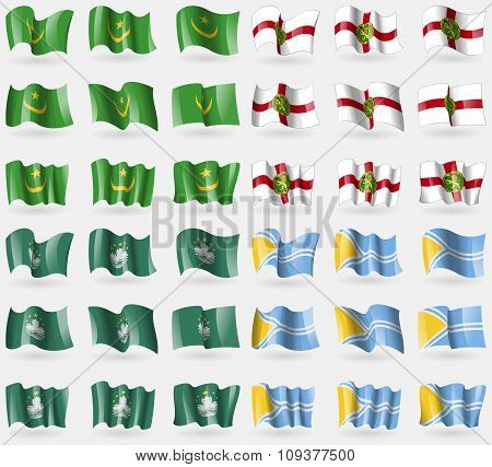 Mauritania, Alderney, Macau, Tuva. Set Of 36 Flags Of The Countries Of The World.