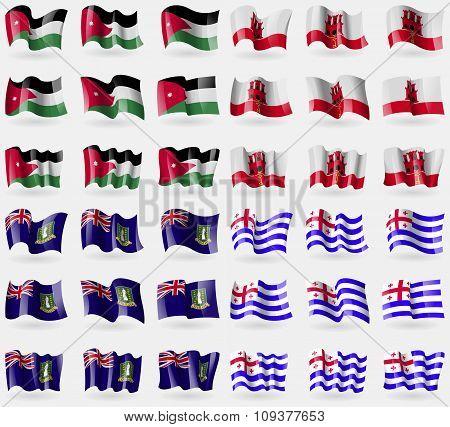 Jordan, Gibraltar, Virginislandsuk, Ajaria. Set Of 36 Flags Of The Countries Of The World.