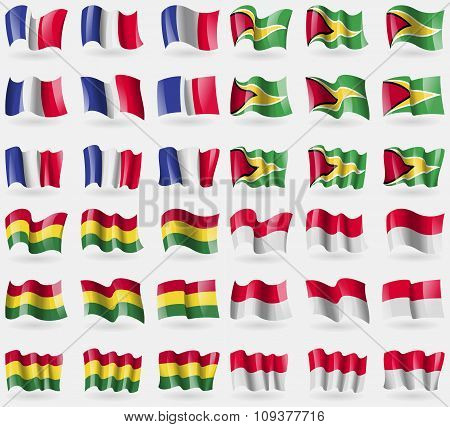 France, Hayana, Bolivia, Monaco. Set Of 36 Flags Of The Countries Of The World.