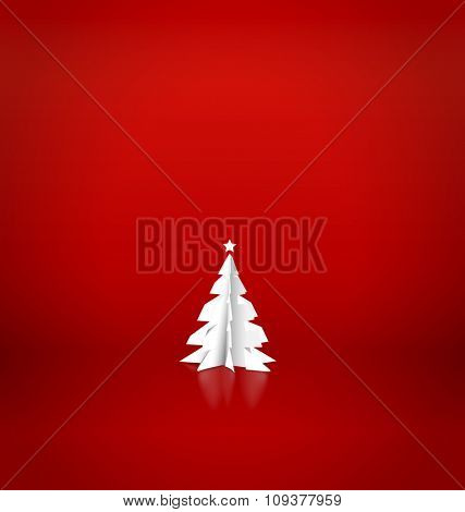 Merry Christmas greeting card with origami Christmas tree, vector illustration.