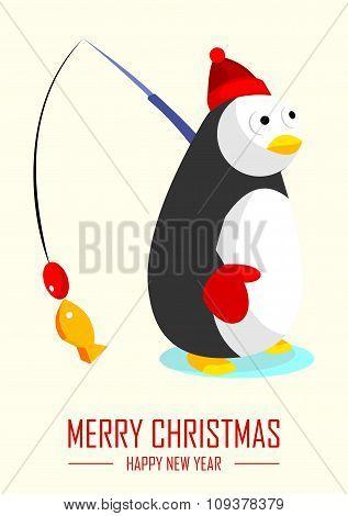 Vector Merry Christmas Penguin