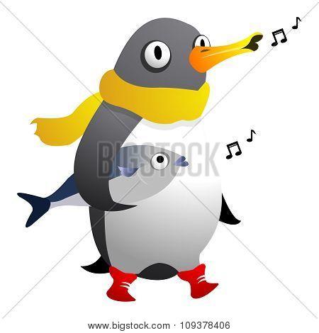 Vector Penguin Singing