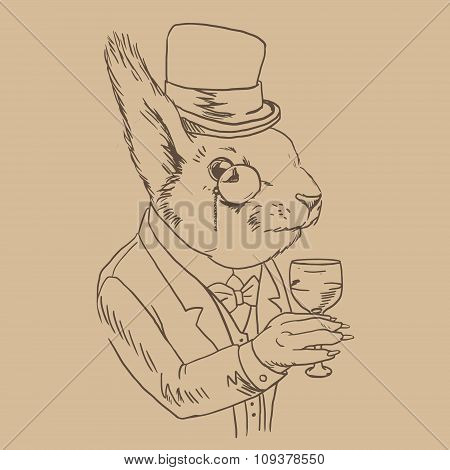 Squirrel With Monocle And Top Hat