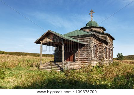 Ancient wooden Orthodox Church of the Assumption. Russia, Kamchatka