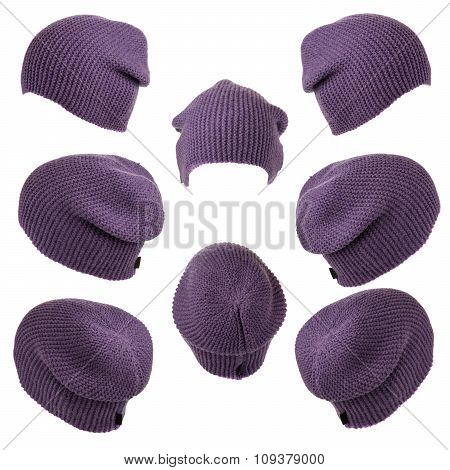 Set Of Knitted Hats Violet Isolated On White Background