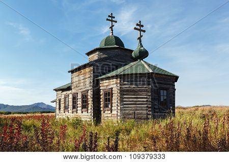 Ancient wooden Orthodox Church of the Assumption. Russian Federation, Kamchatka