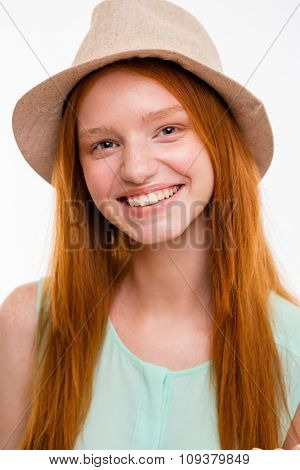 Closeup portrait of smiling cute sensual lovely girl in boonie hat
