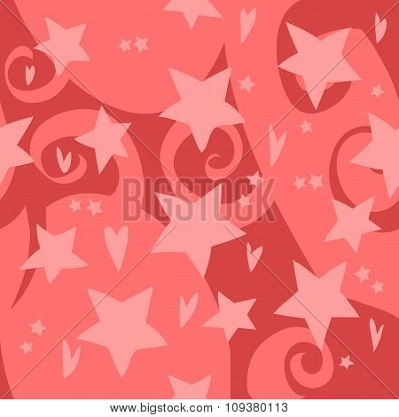 Vector cartoon flat red stars and hearts pattern.