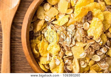 Corn Flakes For Breakfast In A Bowl Closeup