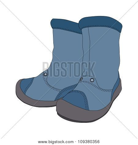 Boys boots on white background