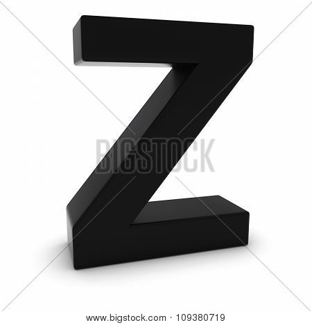 Black 3D Uppercase Letter Z Isolated On White With Shadows