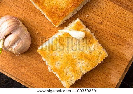 Piece Of Toasted Bread With Garlic