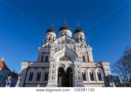 Domes Of Alexander Nevsky Cathedral In Tallinn