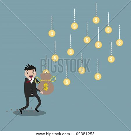 Cartoon businessman earning money