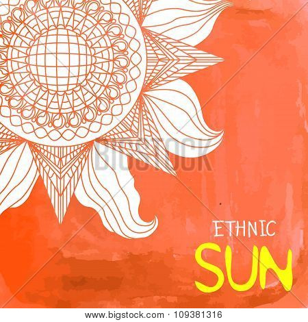 Watercolor Ethnic Sun Background With Text Place On The Right
