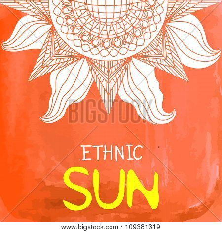 Watercolor Ethnic Sun Background With Text Place At The Bottom