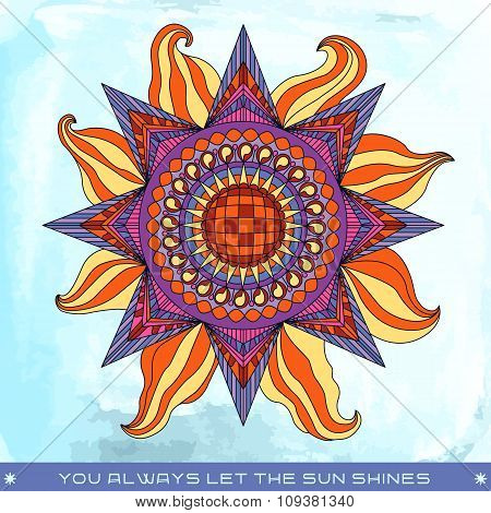 Colorful Summer Sun Illustration With Phrase