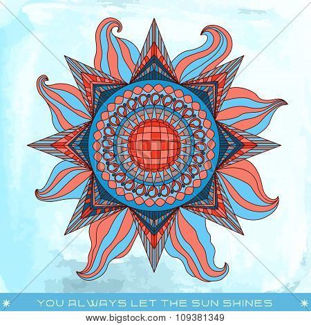 Summer Sun Illustration With Phrase In Red And Blue Colors