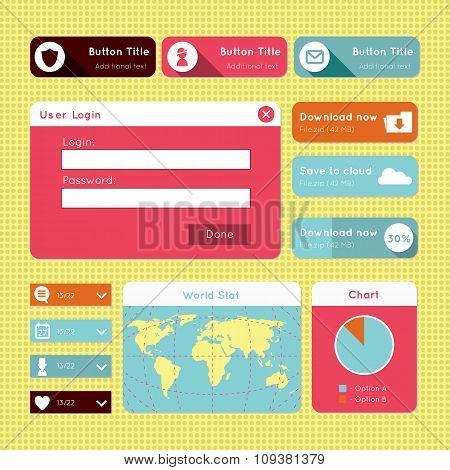 Simple flat modern UI design website elements