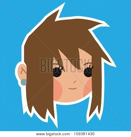 Cartoon girl head flat sticker icon.