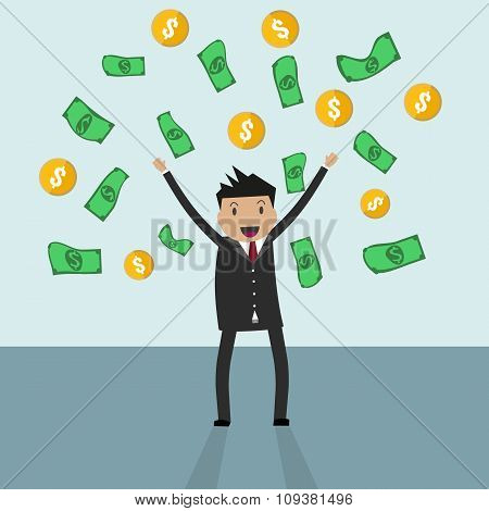 businessman standing under falling raining money