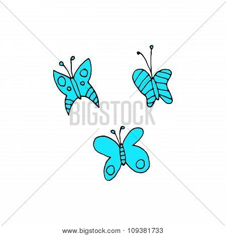 Cartoon butterfly flat sticker icon.
