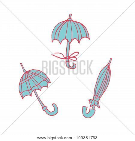 Cartoon umbrellas flat sticker icon.