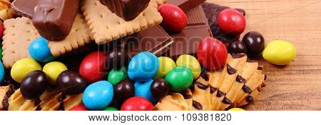 A Lot Of Sweets On Wooden Surface, Unhealthy Food