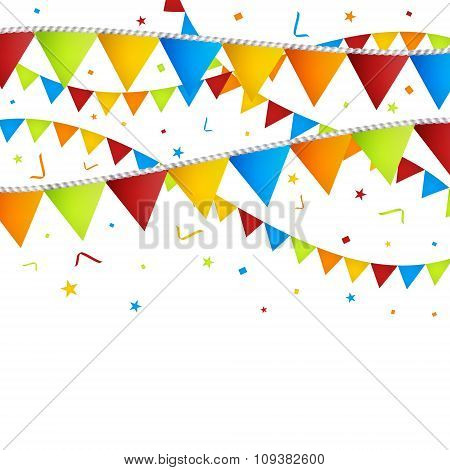 Celebration background with confetti and colorful flags.