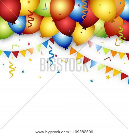 Balloon celebration background with flags, confetti and ribbons
