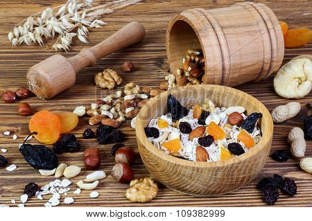 Granola With Oatmeal, Nuts And Dried Fruits