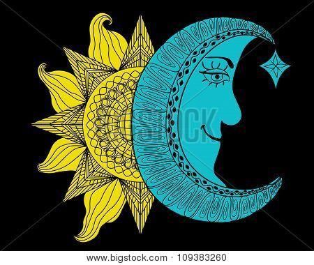 Shining Yellow Sun And Blue Moon Cartoon Illustration