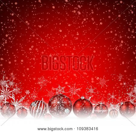 Christmas red background with balls and snowflakes. Vector illustration.