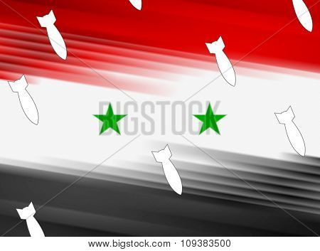 Abstract Syrian flag and air warheads illustration. Vector graphic design