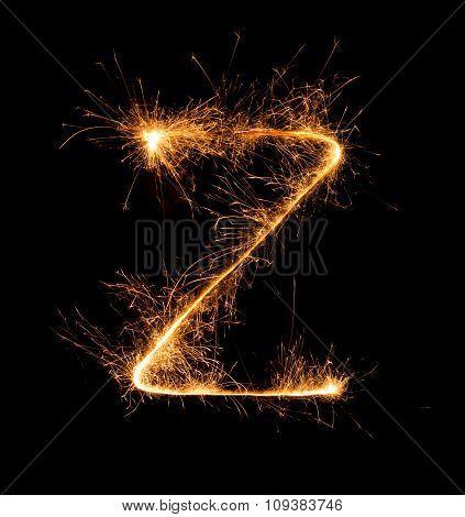 Sparkler Firework Light Alphabet Z At Night