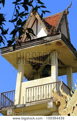 the bell tower in Buddhist temple