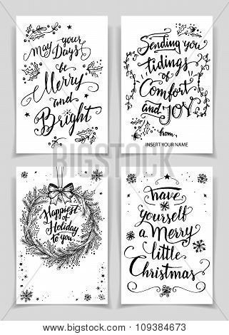 Christmas Calligraphy Greeting Cards Set