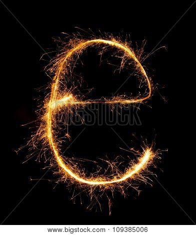 Sparkler Firework Light Alphabet E (small Letters) At Night