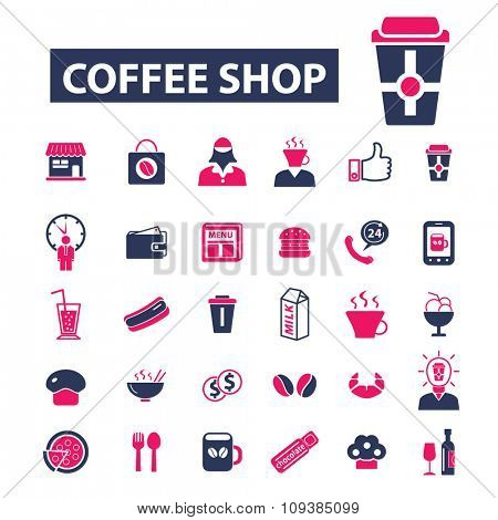 coffee shop, cafe  icons, signs vector concept set for infographics, mobile, website, application