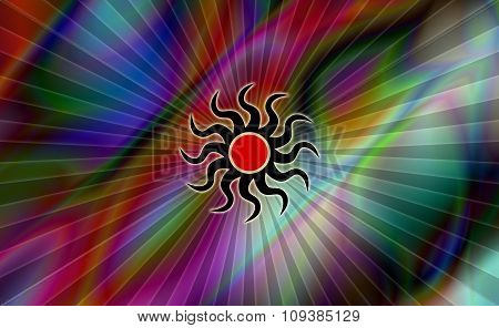 Abstract color background with artistic burning Sun symbol