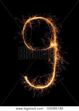 Sparkler Firework Light Alphabet G (small Letters) At Night