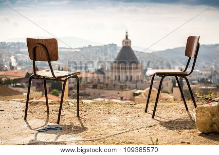 Nazareth Panorama With Chairs, Israel