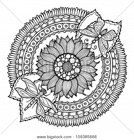 Circle summer doodle flower in mandala.