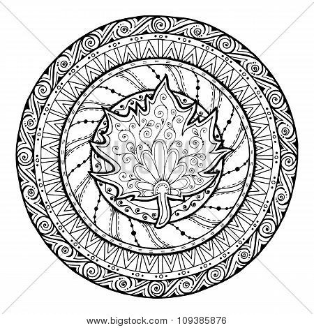 Autumn mandala. Tribal doodle with maple leaf.